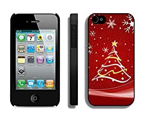 For Apple Iphone 4/4S Case Cover ,Snowflakes Red Christmas Tree Silicone Black For Apple Iphone 4/4S Case Cover