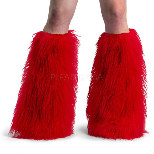 Furry Shag Boot Covers - Red - One