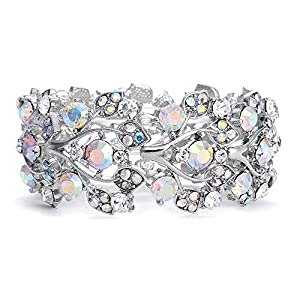 Mariell Aurora Borealis Crystal Stretch Bracelet – One Size Fits Most for Prom, Bridesmaids, and Weddings