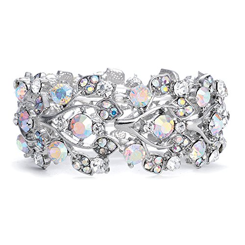 Mariell Aurora Borealis Crystal Stretch Bracelet - One Size Fits Most for Prom, Bridesmaids, and - Cuff Bracelet Crystal Austrian