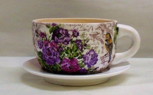 - Handmade Decoupage Ceramic Tea Cup Flower Pot, Succulent Pot, Floral, Birds