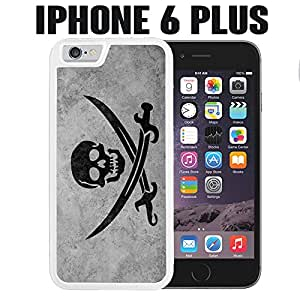 iPhone Case Grunge Pirate Flag for iPhone 6 PLUS Rubber White (Ships from CA)