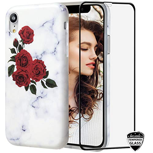 (iPhone XR Case with Glass Screen Protector,REEJAX Cute Rose Marble for Girls Women Best Protective Slim Fit Clear Bumper Glossy TPU Soft Silicon Cover Phone Case for iPhone XR[6.1inch])