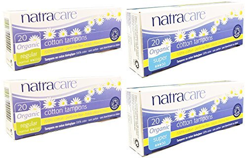 Natracare Organic Cotton Tampons (Super and Regular Variety Pack of 80) No Applicator ()