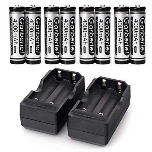X.Store 8 Pack 4000mAh 18650 Rechargeable Battery 3.7V Li-on 18650 Battery with 2 Pack Charger(Button Top,NOT AA)