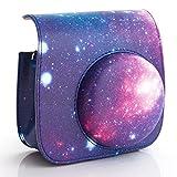 [Fujifilm Instax Mini 8 Case ]-Woodmin Exclusive Galaxy PU Leather Protective Fuji Instant Mini 8 Camera Bag with Shoulder Strap