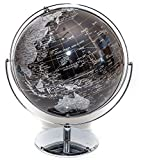 Extra Large Black & Silver Globe of the World 17''