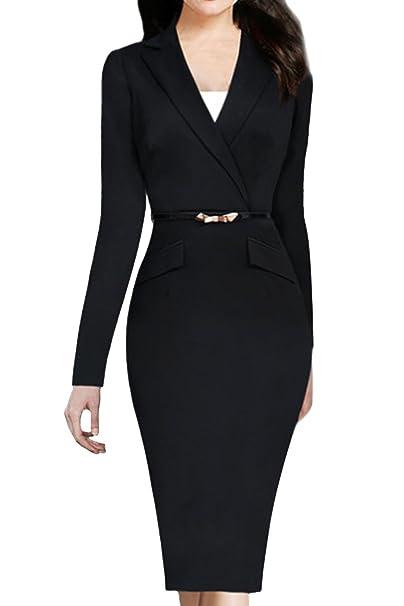 Women Elegant Long Sleeve Suit Collared Slim Bodycon Pencil Business