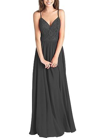 8d4c10e65330b Lafee Bridal V-Neck Long Chiffon Bridesmaid Dress Spaghetti Straps Lace  Evening Gown Black Size