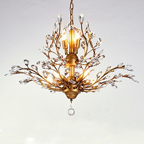 Chandelier Eight Modern Light (Modern Crystal Chandelier, Motent Vintage 8-Light Metal Branch Pendant Light with Clear K9 Crystal, Iron Wrought Hanging Lighting Fixture with E14 Candelabra Base, 25