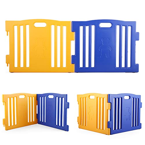JAXPETY 2 Panel Wide Super Playpen Play Yard Baby Gate Large Extension