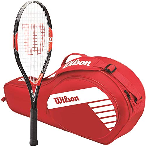 (Wilson Roger Federer 25 Inch Pre-Strung Junior Black/Red Tennis Racquet Kit or Set Bundled with a Red Junior 3-Pack Tennis Bag (Best Racquet for Kids Ages 9-10))