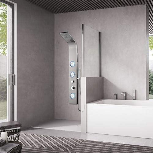 PIANETAFFARI Panel de Ducha termostático de Acero Inoxidable Pulido con 3 chorros de hidromasaje Serie Tessa: Amazon.es: Hogar