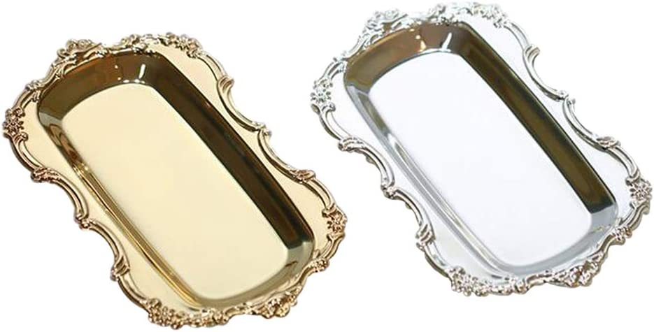 Snack Pastry Hotel Serving Tray Metal Dish Plate for Towel Gold Cake Fruit