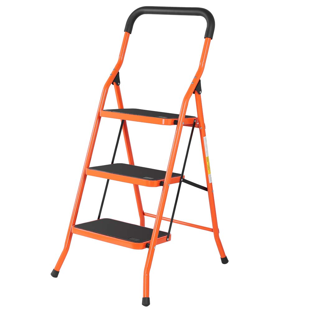 Luisladders 3 Step Ladder Step Stool with Handgrip Portable Lightweight Folding Space Saving Ladders with Sturdy Steel and Anti-Slip Wide Pedal, Multi-Use for Household, Market, Office (330 Lb) by LUISLADDERS