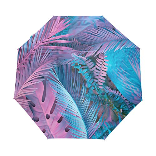 Mr.Lucien Beautiful Blue Palm Leaf Plant Compact Umbrella, Tropical Hand Painted Art Works Automatic Folding Travel Umbrella, Windproof Auto Open/Close for One Handed Operation 2021638 (Umbrella Outside Plant)