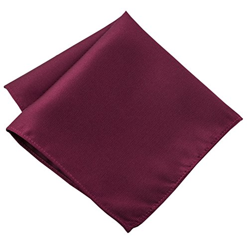 - 100% Silk Woven Burgundy Pocket Square Handkerchief by John William