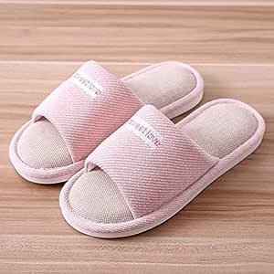 AMFHY Zapatillas de casa para Mujer Amantes de Lino de algodón ...