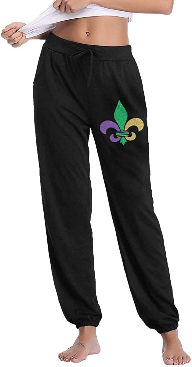 QIAOJIE Pantalon Fleur De lis Mardi Gras Active Lounge Drawstring Waist Yoga Leggings Sweatpants with Pockets