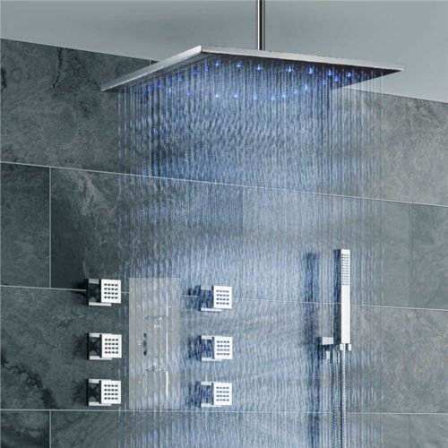 HOMEDEC Thermostatic LED 16inch shower Faucet with 6 Body Sprays Bathroom Shower System with Hand Shower, Square Fixed Shower (6 Jet Spray Showerhead)