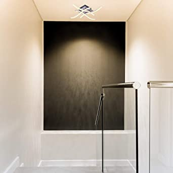 ALLOMN Luz de Techo LED, Lámpara de Araña Lámpara de Techo de Diseño Curvo Moderno con luz Ondulada de 4 Piezas para Sala de Estar Dormitorio Comedor (28W 4 Luces Blanco Cálido):