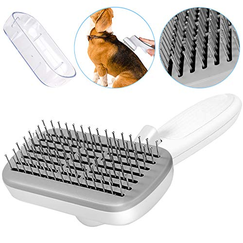 SlowTon Self Cleaning Pet Brush, Steel Wire Slicker Brush Shedding Grooming Tool Comb with Protect Cover, Easy to Remove Loose Hair Tangle Knots, Suitable for Thick Long Hair Middle Large Dog Cat (N)