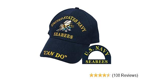 204fe6c52f9b4 Amazon.com  Eagle Emblems Inc. United States Navy Seabees Hat Blue  Clothing