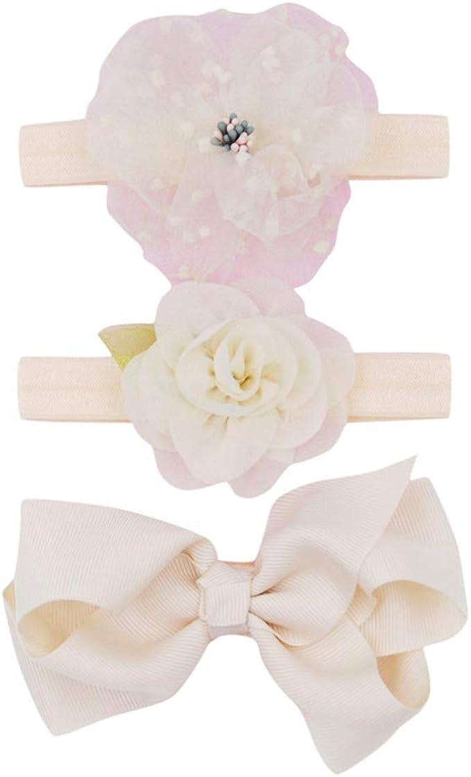 3 STÜCKE Baby Mädchen Blume Stirnband Set Bowknot Headwear Geschenk Kinder