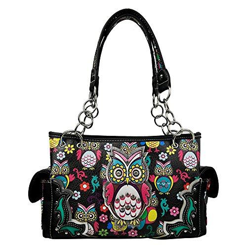 La Dearchuu Western Handbag Concealed Carry Bag Coloured Patterned Shoulder Bags for Women PU Studded Fashion Handbags for Ladies (Night Owl) Black