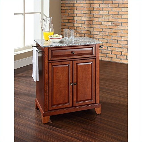 Crosley Furniture Newport Solid Granite Top Portable Kitchen Island in Classic Cherry Finish
