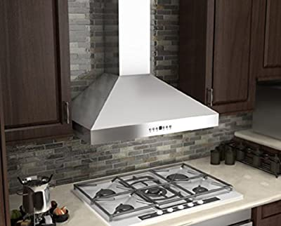 "Z Line KL3CRN-36 36"" 760 CFM Wall Mount Range Hood in Stainless Steel with Crown Molding"