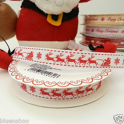 Always Knitting And Sewing Per Metre Berties Bows Christmas Ribbons 16mm Wide Santa & Reindeers, White 14
