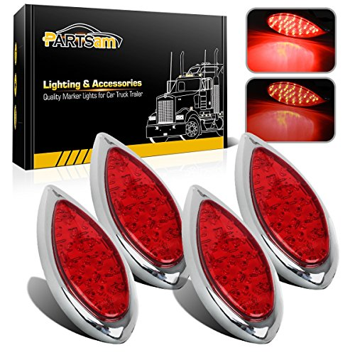 Tail Hot (Partsam 4Pcs Tear Drop 6 Inch Red Led Brake Stop Turn Tail Lights 35 LED Chrome with Bullet Plugs Waterproof Sealed Replacement for Hot Rod 1938 1939 Ford Red Trailer Led Teardrop Tail Lights 12V DC)