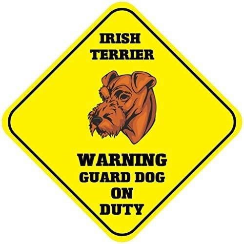 Liz66Ward Irish Terrier Warning Guard Dog On Duty Aluminum Corssing Sign Caution Signs Funny Metal Animal Crossing Wall Art Decor 12x12 Novelty Gifts Sign