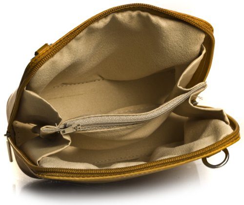 BHBS kleine Damenumhängetasche aus Italienischem Leder 18 x 16 x 7.5 cm (B x H x T) - Light Taupe