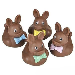 Vinyl Easter Chocolate Rubber Ducks - 12 pcs