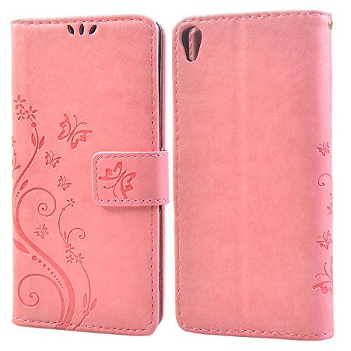 COOLKE etro Mariposas Patrón PU Leather Wallet With Card Pouch Stand de protección Funda Carcasa Cuero Tapa Case Cover para Sony Xperia XA - Rosa Rosa