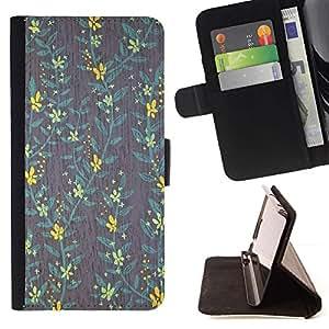 Momo Phone Case / Flip Funda de Cuero Case Cover - Yellow Wallpaper trullo Gris Verde - Samsung Galaxy J1 J100