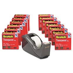 Scotch Transparent Tape With C60 Desktop Dispenser, 34 X 1000 Inches, 12 Rolls, 1 Dispenser (600k-c60)