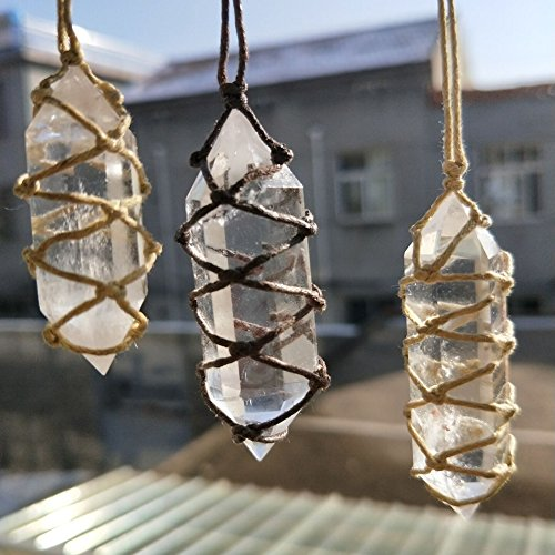 Yunhigh Clear Fluorite Crystal Necklace Pendant with Wire Wraped Natural Quartz Crystal Stone Point Healing Hexagonal Wand with Hand Woven Rope