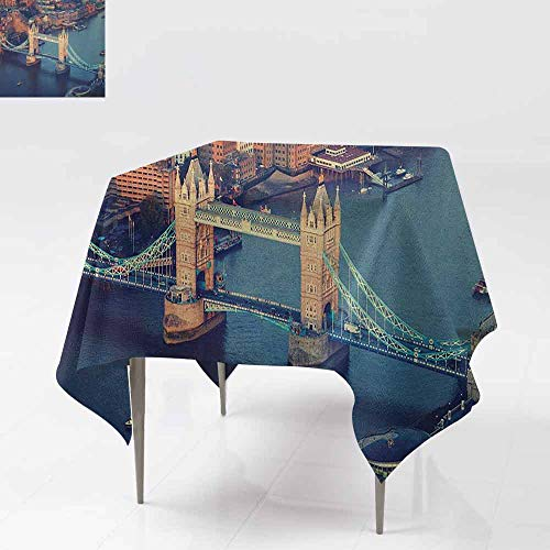 AndyTours Square Tablecloth,London,London Aerial View with Tower Bridge at Sunset Internatinal Big Old UK British River,for Events Party Restaurant Dining Table Cover,36x36 Inch Multicolor -