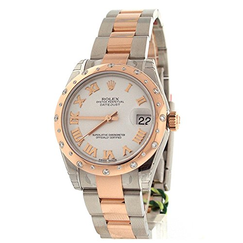 Rolex Datejust 31 White Roman Dial 18k Rose Gold Steel and Diamonds Ladies Watch 178341
