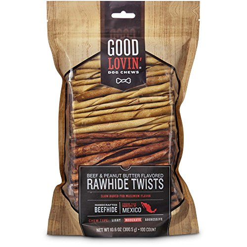 Good Lovin' Beef and Peanut Butter Flavored Rawhide Twist Dog Chews, Pack of 100 (Flavored Rawhide Good)