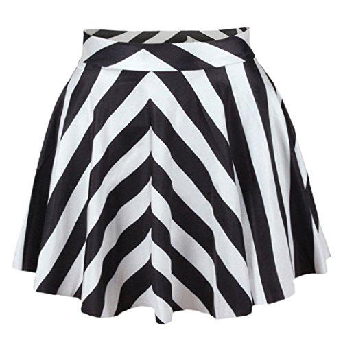 YICHUN Femme Fille Mini Jupe Court Jupe de Plage Jupon Impression Jupe de Soire Skirt Shorts Rayures 2#