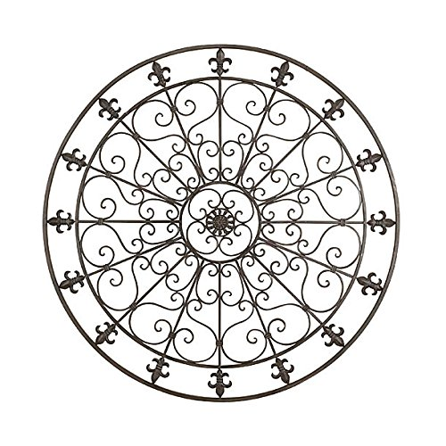 Large Round Wrought Iron Wall Decor Rustic Scroll Fleur De Lis ()