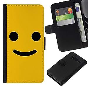 // PHONE CASE GIFT // Moda Estuche Funda de Cuero Billetera Tarjeta de crédito dinero bolsa Cubierta de proteccion Caso Samsung Galaxy Core Prime / Funny Happy Smile Smiley Face /