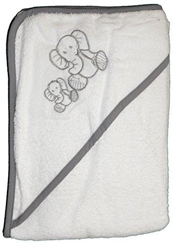 Baby Kapuzen Badetuch 100 x 100 cm, bestickt, Frottier, 100% Baumwolle, ÖKOTEX (Elefant-weiss)