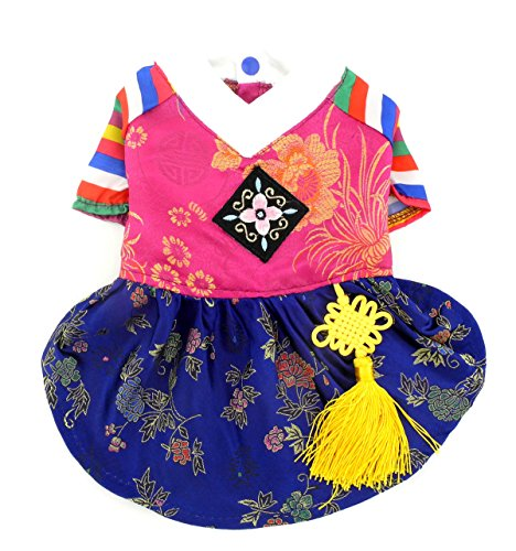 SMALLLEE_LUCKY_STORE Pet Clothes for Small Dog Cat Traditional Embroidered Korean Hanbok Costume Clothing Silk Girl S