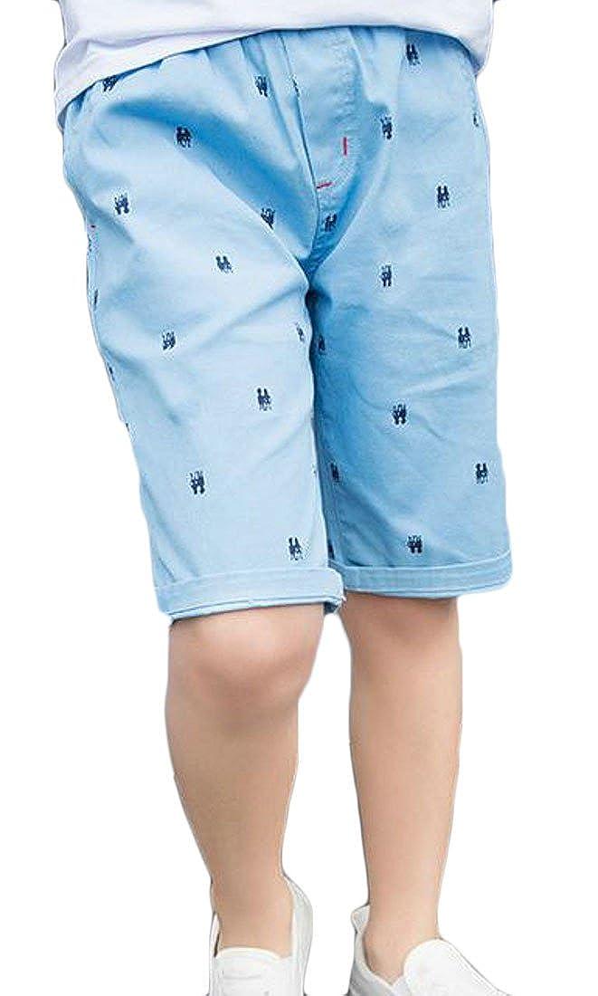 Pandapang Boys Printed Elastic Waist Baggy Casual Pocket Sport Capri Pants