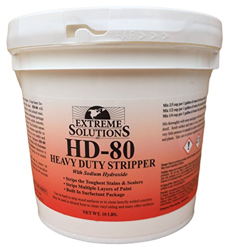 Heavy Duty Wood Stripper & Wood Cleaner for Wood Decks, Wood Fences, Wood Siding, and Log Cabins - HD80 - Woodrich Brand - Moss, Mold, Mildew, Sealer & Stain Remover - Covers up to 3000 Square Feet (Olympic Solid Color Deck Stain)